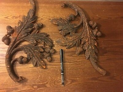 Two Old Pieces of Ornamental/Decorative Cast Iron Oak Leaves and Acorns