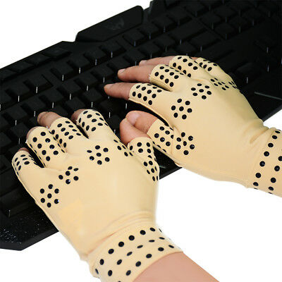 Pair of Therapeutic Compression Gloves 3 Way Relief from Aching Hands Magnetic N