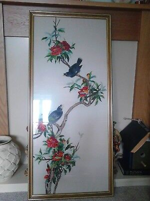 Vintage Chinese Silk Embroidery Hand Made 2 bird summer picture 44 / 20 inch