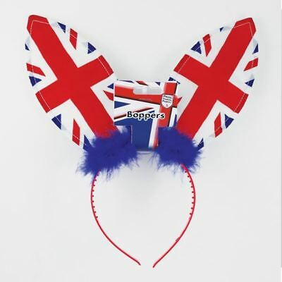 GB Union Jack Bunny Ears Great Britain Headband Royal Wedding Fancy Dress