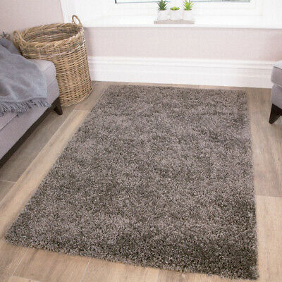 Cosy Fluffy Charcoal Grey Bedroom Shaggy Rug New Thick Non Shed Living Room Rugs