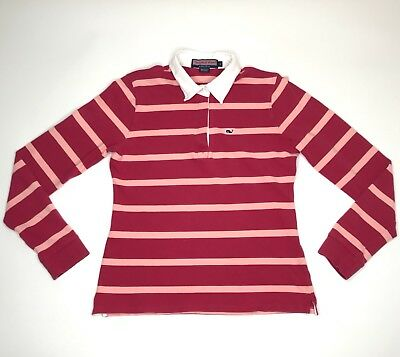 Vineyard Vines Polo Shirt Women Small Long Sleeve Blouse Striped