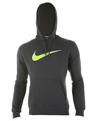 best website 90b3e fbffe $155 NIKE MEN'S GRAY NEON GREEN SWOOSH LOGO PULLOVER SWEATSHIRT HOODIE SIZE  XL