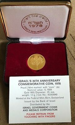 1978 , Israel 30th Anniversary , Proof ,12g , Gold 900, Mint Marked