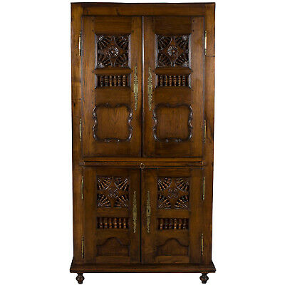 Antique Jacobean Style Carved Oak Wardrobe Armoire Cabinet Shelf Cupboard FS
