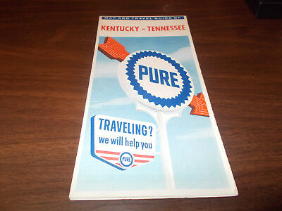 1962 Pure Oil Kentucky/Tennessee Vintage Road Map