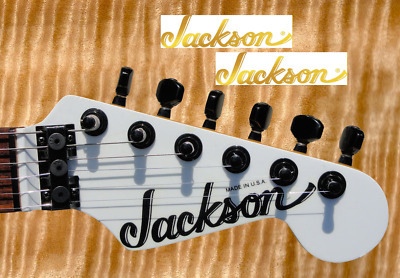 2 x Decalcomania Jackson Decal Chitarra Guitar Very Ink Gold & Silver