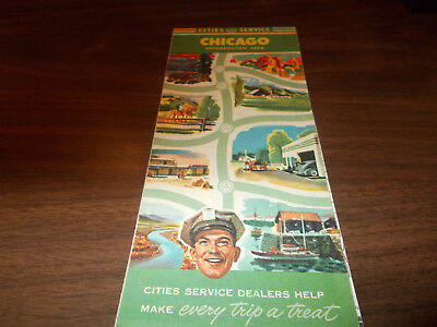 1940s Cities Service Chicago Metro. Area Vintage Road Map