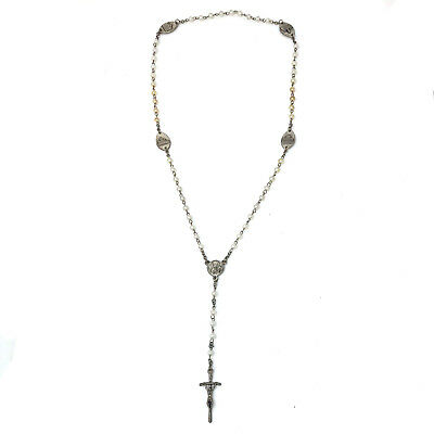 "Mixed Metal Synthetic White Yellow Pearl Cross Rosary Necklace 22"" with 3 "" Drop"