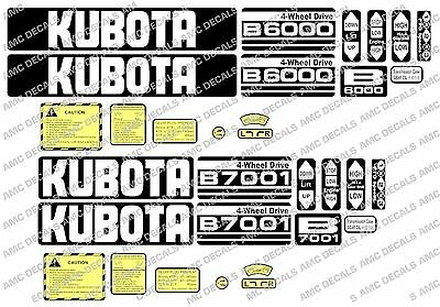 Kubota B6000 B6001 B6100 B7000 B7001 B7100 Compact Tractor Decal Sticker Set