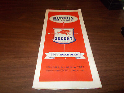 1935 Mobil Boston and Vicinity Vintage Road Map