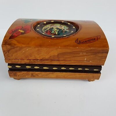 Vng Beautiful Wooden Hand Painted Trinket Musical (Love story) Box, Mirror Japan