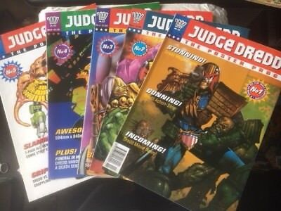 2000Ad Judge Dredd Poster Programmes Issues 1 - 5 In Ex Condition Very Rare