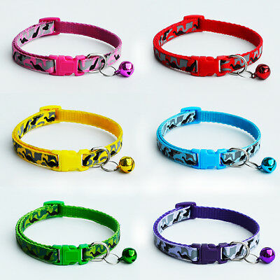 CAMOUFLAGE Kitten Small Cat Collar with Safety Buckle & Warning Bell UK SELLER