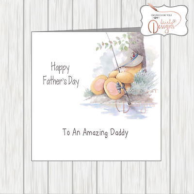 Fathers Day Card Forever Friends Fishing Bear For Amazing Daddy Cute & Cuddly!