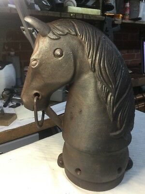 """Vintage cast iron horse head hitching post BEAUTIFUL PATINA  13"""""""