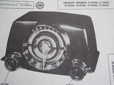 Crosley 11-100U, 11-101U, 11-102U, 11-103U, 11-104U, & 11-105U Radio Photofact