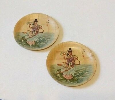 Vtg Water Goddess Lou-Chen Bamboo China Decor Plates 6 1/4\  Set & BAMBOO PLATE Specialist Vtg Set of 2 Chinese Peony Plates 6 1/4 Inch ...
