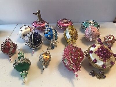 Vintage Victorian Beaded Christmas Ornaments - 14