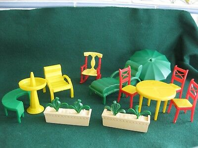 Vintage Marx And Renwal Doll House Dollhouse Patio Garden Furniture