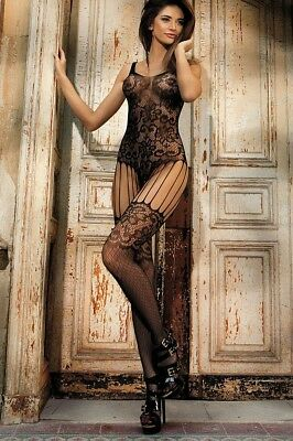 Sexy Lingerie Body Stocking Open Crotch Suspender Garter Body Suit Plus Size