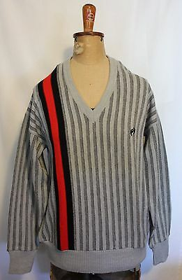 VINTAGE 1970's HANG TEN ~ Grey Striped Pure New Wool Jumper Sweater 18 NWT New