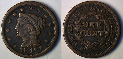 1847 Dark Copper Braided Hair Liberty Head Large Cent US Type Coin F-2
