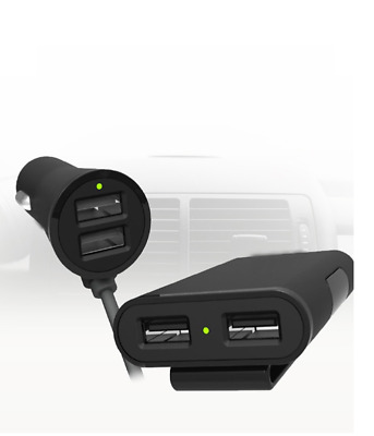 Multi 4 Ports USB Smart Car Charger 9.6A 1.8m Cable Adapter For Front and Back