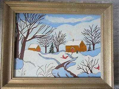Nice Vintage 1979 Folk Art Oil Painting on Board Winter House Scene Ida Coleman