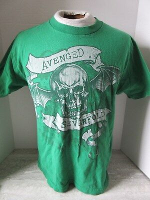 Avenged Sevenfold Green T-Shirt Winged Skull Size Medium