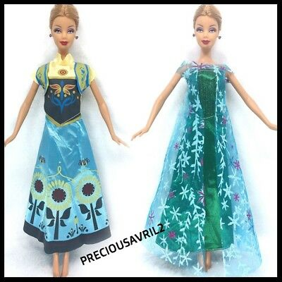 New Barbie doll clothes outfit princess wedding dress gown 2 x Frozen Outfits.