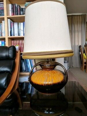 Vintage Retro Large standard lamp ceramic original shade 70s