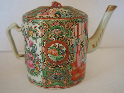 Large Antique Chinese Famille Rose Court Figural H Paint Medallion Gourd Teapot