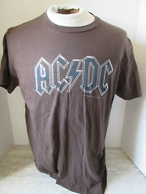 2006 AC/DC Brown T-Shirt Metallic Lettering Size Large