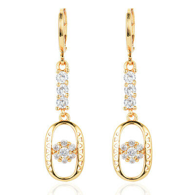 NEW 18K Gold Plated Women Circle Zircon CZ Long Dangle Drop Earrings Jewelry