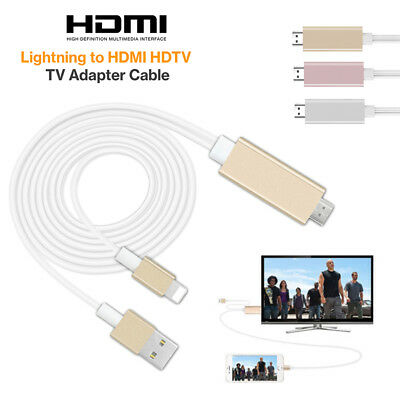 2M Lightning Connect to HDMI TV AV Cable Adapter for Apple iPad iPhone 5 5S 6 6S