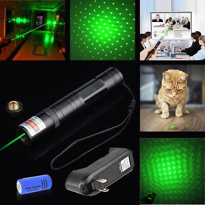 10Miles 532nm Green Laser Pointer Pen Visible Beam Star Cap 16340Batt Smart Char