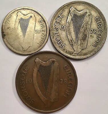 1928 Ireland Irish Florin+Shilling+Penny - 1st Year of Issue!