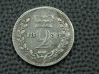 GREAT BRITAIN  2 Pence  1838   SILVER   ,   $ 2.99  maximum  shipping  in  USA