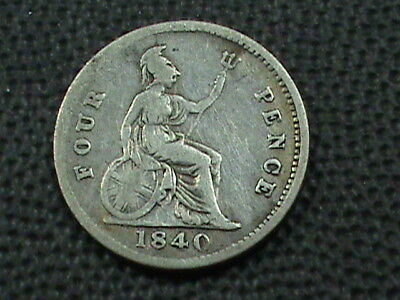 GREAT BRITAIN  4 Pence  1840   SILVER   ,   $ 2.99  maximum  shipping  in  USA
