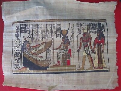 "Egyptian Hand-painted Papyrus Artwork: Winged Maat & Hathor 13""X17"""