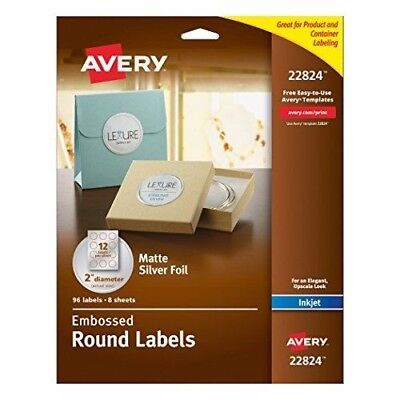 Avery Embossed Round Labels, 2-Inch Diameter, Matte Silver Foil, 96 Labels New