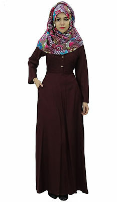 75cda818dd3 Bimba Women s Long Sleeve Muslim Islamic Abayas Maxi Jilbab Dress Pleated