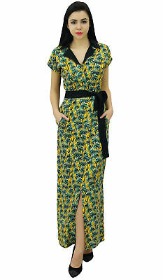 ee6054b01c Bimba Womens Long Palm Tree Printed Robe Dress With Collar Full Length  Casual