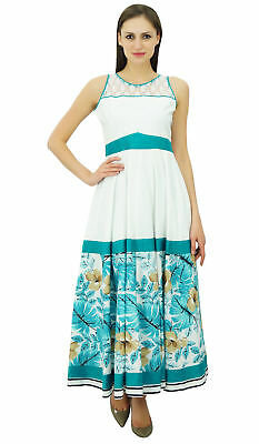 Bimba Women Designer White Kurti Printed Rayon Long Maxi Summer Dress Casual