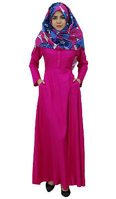 672f55e1bf3 Bimba Women s Long Sleeve Muslim Islamic Abayas Pleated Maxi Jilbab Dress