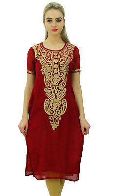 Bimba Womens Designer Embroidered Kurta Kurti Indian Long Tunic Blouse - Maroon