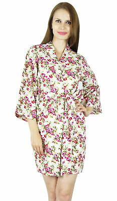 Bimba Women Short Cotton Robe Floral Print Getting Ready Bridesmaid Robes-  White aebf1e1af
