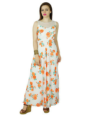 Bimba Women Long Floral White Dress Georgette Flaired Maxi Summer Wear