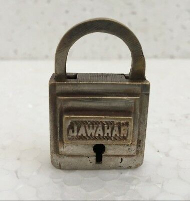 old antique vintage solid brass padlock lock with key small miniature jawahar